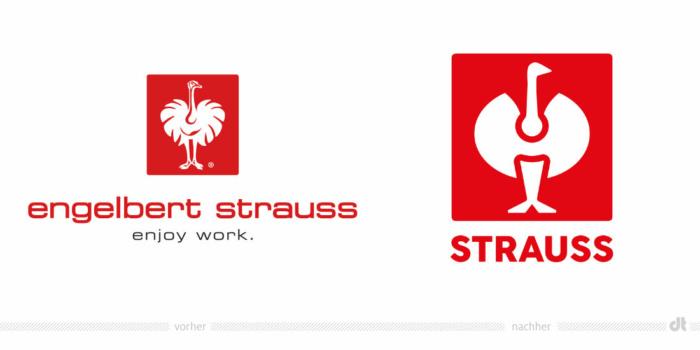 Engelbert Strauss Logo – vorher und nachher, Bildquelle: Engelbert Strauss, Bildmontage: dt