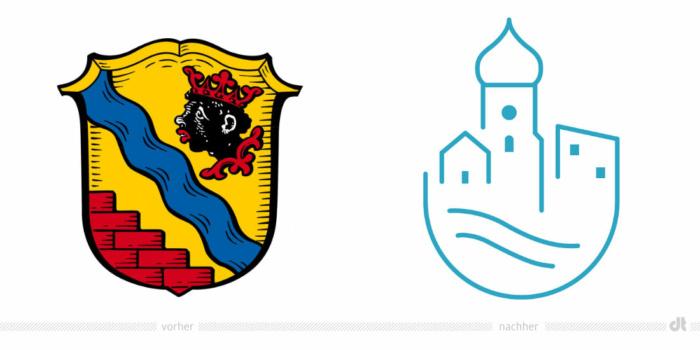 Gemeinde Unterföhring Logo – vorher und nachher, Bildquelle: Gemeinde Unterföhring, Bildmontage: dt