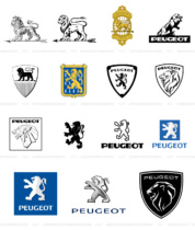 Peugeot Logo Evolution, Bildquellen: Peugeot, Wikipedia, Bildmontage: dt