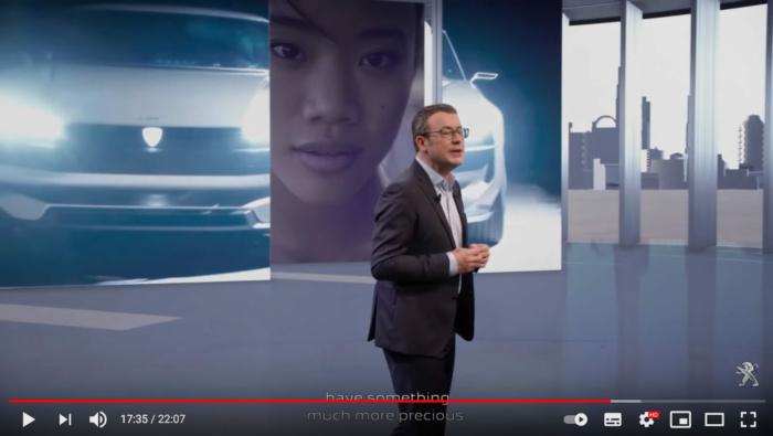 Peugeot neues Logo am Fahrzeug, Quelle: Peugeot/YouTube