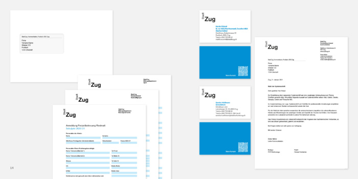 Stadt Zug Corporate Design – Anwendungen, Quelle: Stadt Zug
