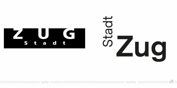 Stadt Zug Logo – vorher und nachher, Bildquelle: Stadt Zug, Bildmontage: dt