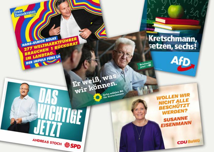 Wahlplakate Landtagswahl Baden-Württemberg 2021, Bildquellen: Bündnis90/Die Grünen, CDU, AfD, SPD, FDP, Bildcollage: dt