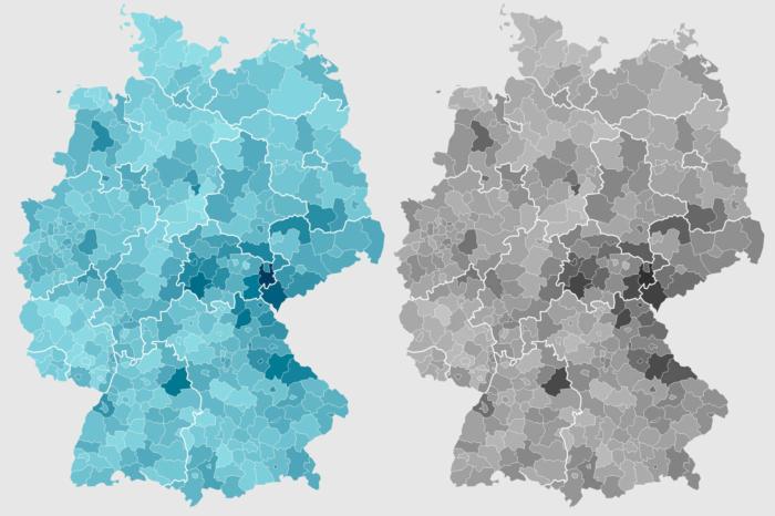 Coronavirus Neuinfektionen Deutschland Karte – heute Graustufenansicht