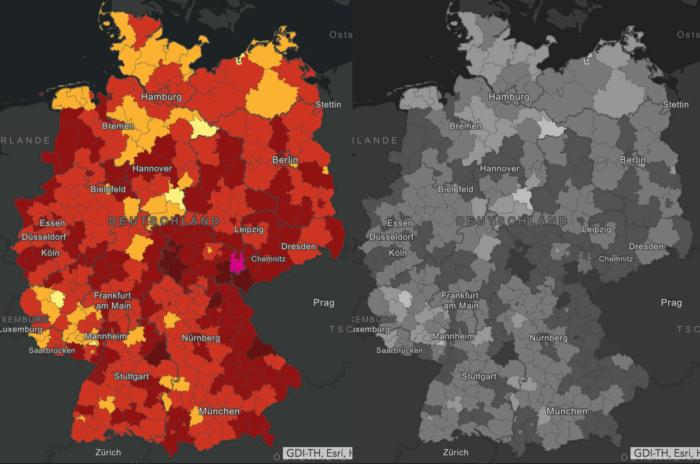 Coronavirus Neuinfektionen Deutschland Karte – RKI Graustufen-Ansicht