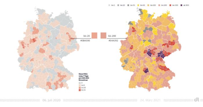 Coronavirus Neuinfektionen Deutschland Karte – SZ – Vergleich Zeitraum