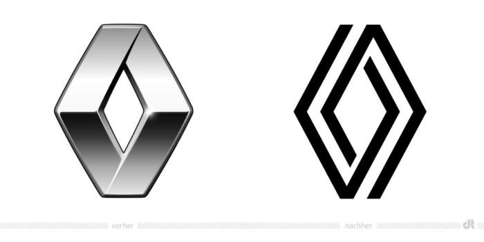Renault Logo – vorher und nachher, Bildquelle: Renault, Bildmontage: dt