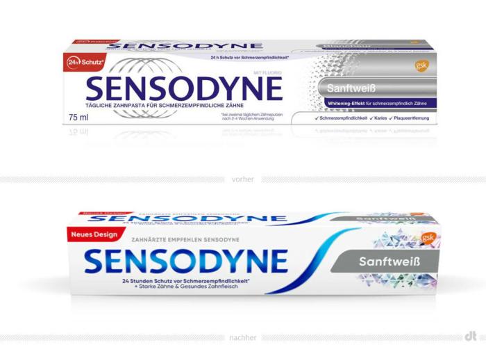 Sensodyne Verpackung Sanftweiß – vorher und nachher, Bildquelle: GlaxoSmithKline, Bildmontage: dt