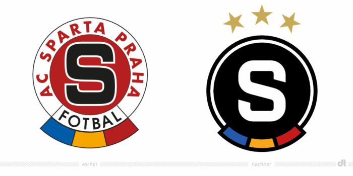 Sparta Prag Logo – vorher und nachher, Bildquelle: Sparta Prag, Bildmontage: dt
