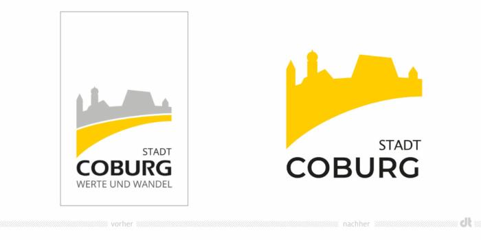 Coburg Logo – vorher und nachher, Bildquelle: Stadtverwaltung Coburg, Bildmontage: dt