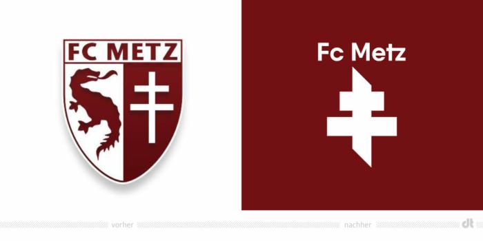 FC Metz Logo – vorher und nachher, Bildquelle: FC Metz, Bildmontage: dt