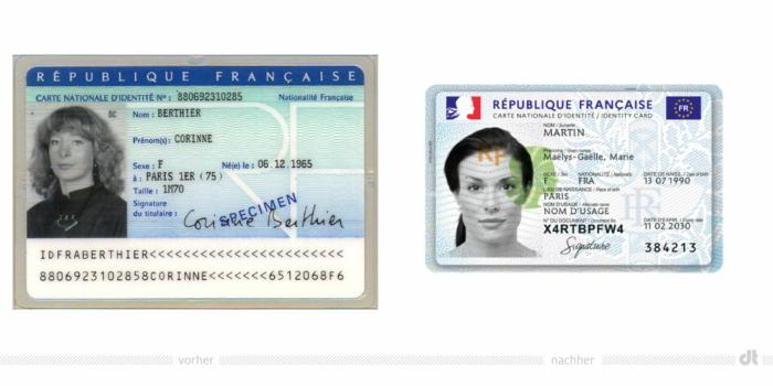 Frankreich Personalausweis – vorher und nachher, Bildquelle: Französische Regierung / Wikipedia