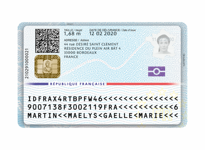 Frankreich Personalausweis (Rückseite), Quelle: Französische Regierung / Wikipedia