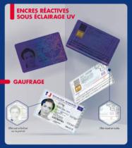 Frankreich Personalausweis – Ansicht unter UV-Licht / Prägung, Quelle: Französische Regierung