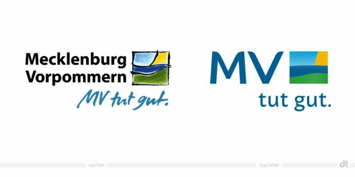 Mecklenburg-Vorpommern Logo – vorher und nachher, Bildquelle: Staatskanzlei Mecklenburg-Vorpommern, Bildmontage: dt