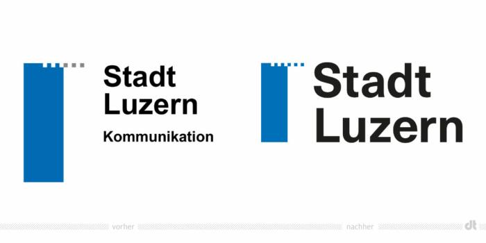 Stadt Luzern Logo – vorher und nachher, Bildquelle: Stadtverwaltung Luzern, Bildmontage: dt