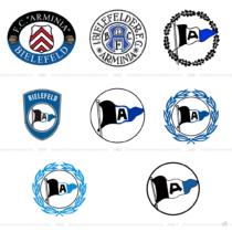 Arminia Bielefeld Logo Historie, Bildquelle: Arminia Bielefeld, 11 Freunde, Wikipedia, Bildmontage: dt