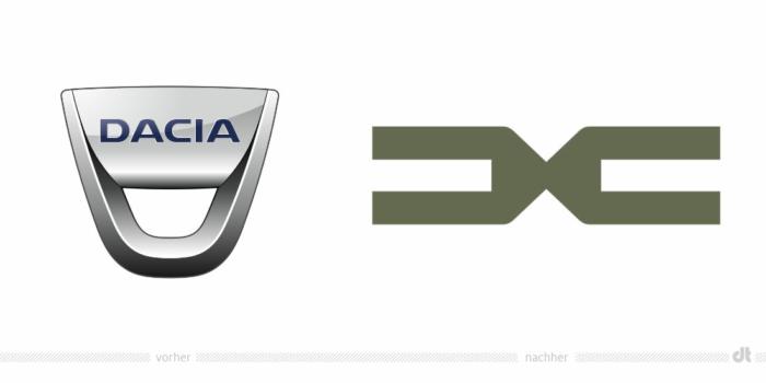 Dacia Markenzeichen – vorher und nachher, , Bildquelle: Renault Group, Bildmontage: dt