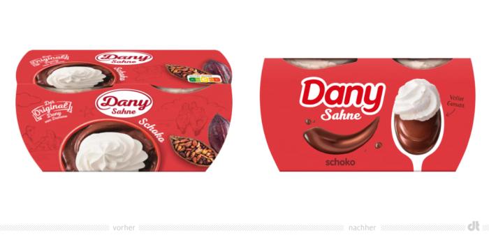 Dany Sahne Schoko – vorher und nachher Bildquelle: Danone, Bildmontage: dt