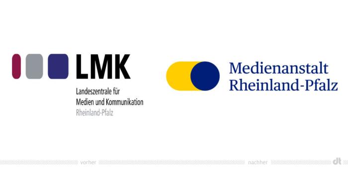 Medienanstalt Rheinland-Pfalz Logo – vorher und nachher, Bildquelle: Medienanstalt Rheinland-Pfalz, Bildmontage: dt