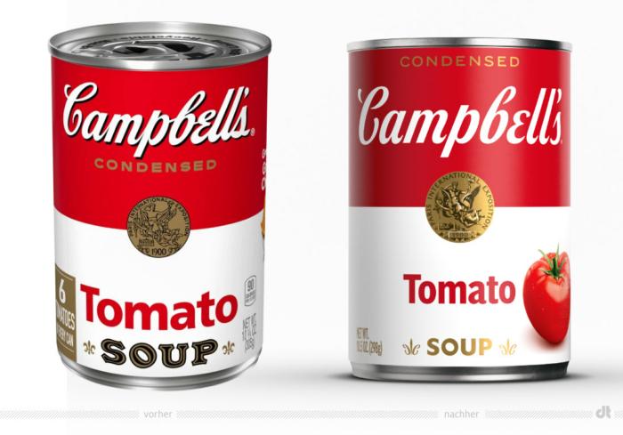 Campbell's Tomato Soup – vorher und nachher