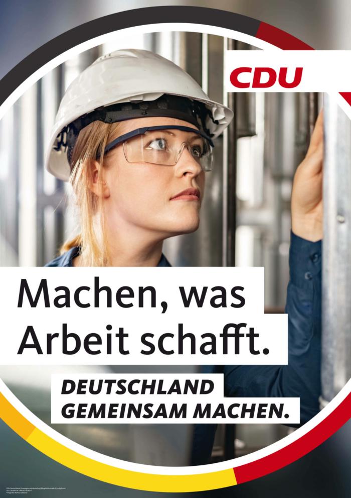 CDU Plakat Bundestagswahl 2021 – Arbeit, Quelle: CDU