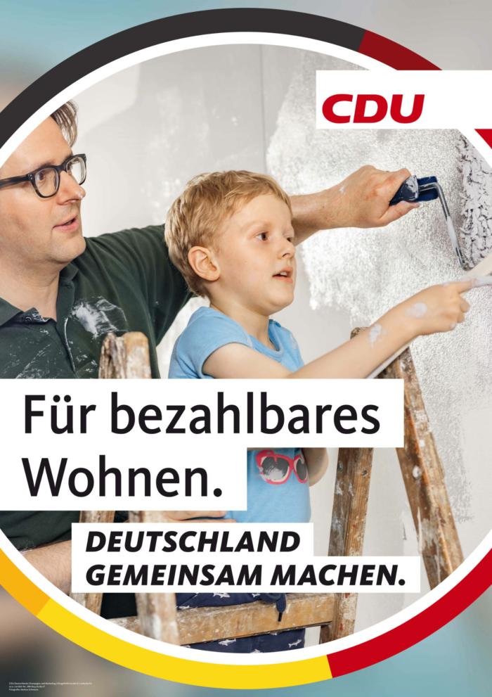 CDU Plakat Bundestagswahl 2021 – Wohnen, Quelle: CDU