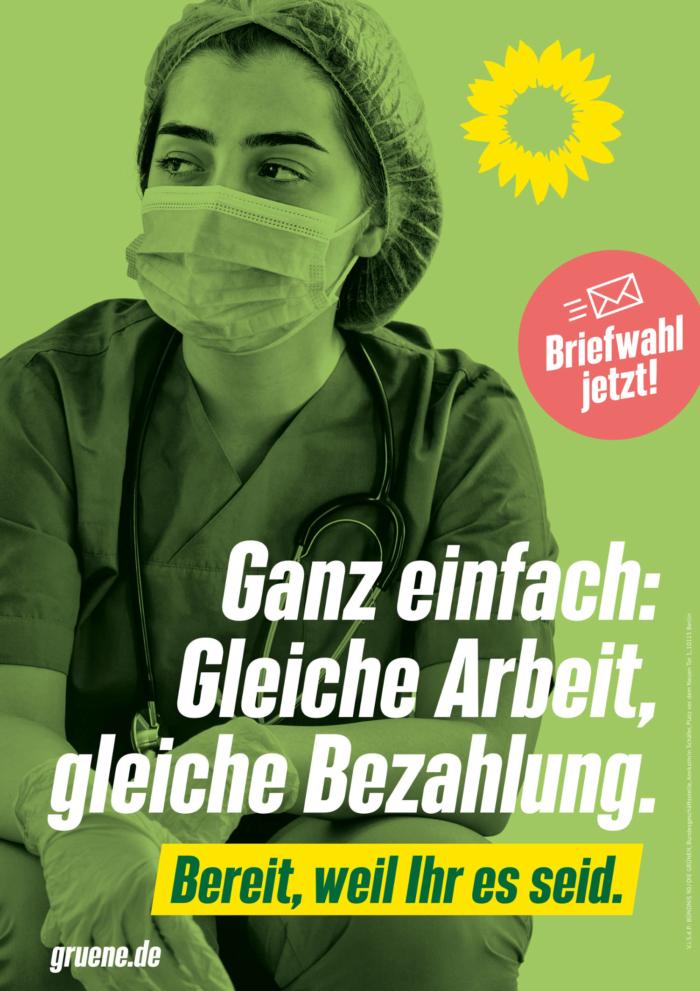 Bündnis90/Die Grünen Plakat Bundestagswahl 2021 – Gleichberechtigung