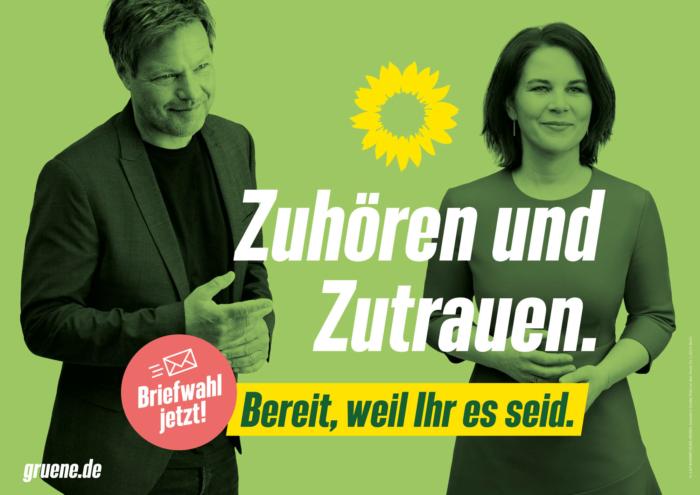 Bündnis90/Die Grünen Plakat Bundestagswahl 2021 – Zuhören und Zutrauen