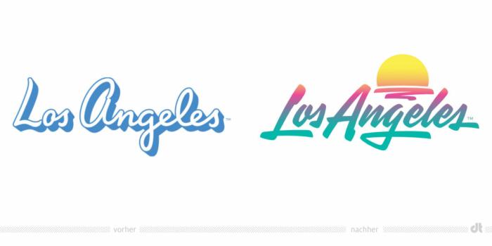 Los Angeles Tourismuslogo – vorher und nachher, Bildquelle: Los Angeles Tourism Board, Bildmontage: dt