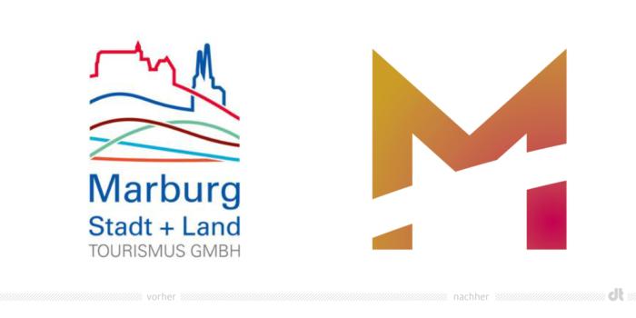 Marburg Tourismus Logo – vorher und nachher, Bildquelle: Marburg Tourismus, Bildmontage: dt