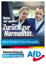 AfD Straßenplakat – Zurück zur Normalität, Quelle: AfD