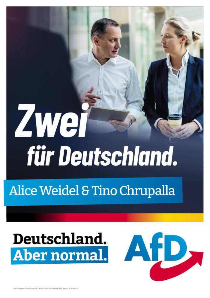 AfD Straßenplakat – Zwei für Deutschland, Quelle: AfD