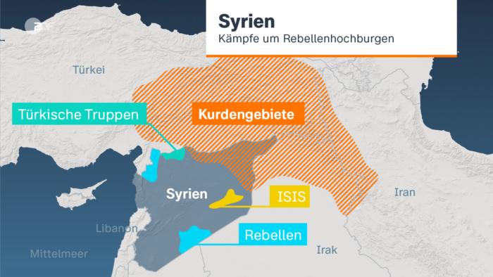 ZDF-Nachrichten 3D-Grafik zu den Konfliktlinien im Bürgerkrieg in Syrien