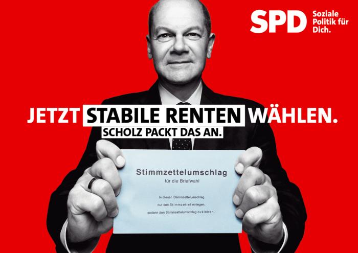 SPD Plakat Bundestagswahl 2021 – Stabile Renten