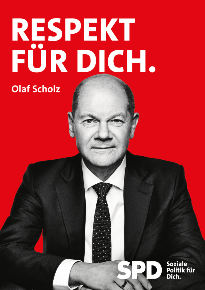 SPD Plakat Bundestagswahl 2021 – Olaf Scholz, Respekt für dich