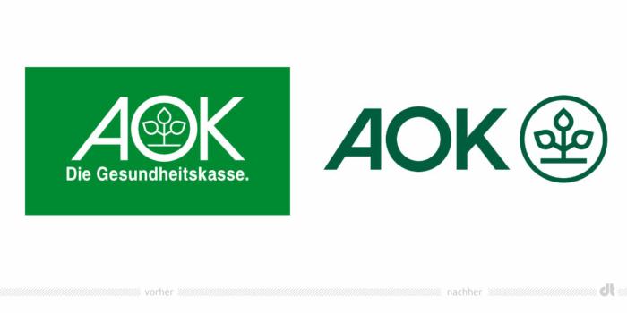 AOK Logo – vorher und nachher