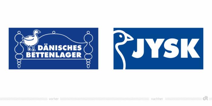Dänisches Bettenlager / JYSK Logo – vorher und nachher