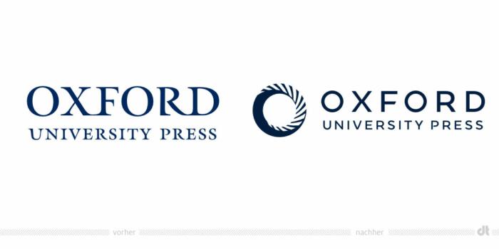 Oxford University Press Logo – vorher und nachher