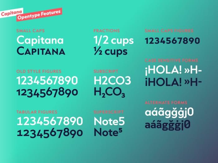 Capitana Opentype Features, Quelle: Felix Braden