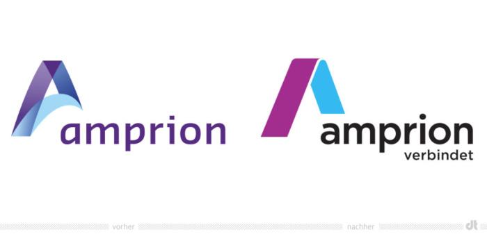 Amprion Logo – vorher und nachher, Bildquelle: Amprion, Bildmontage: dt