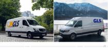 GLS Logo auf Van – vorher und nachher