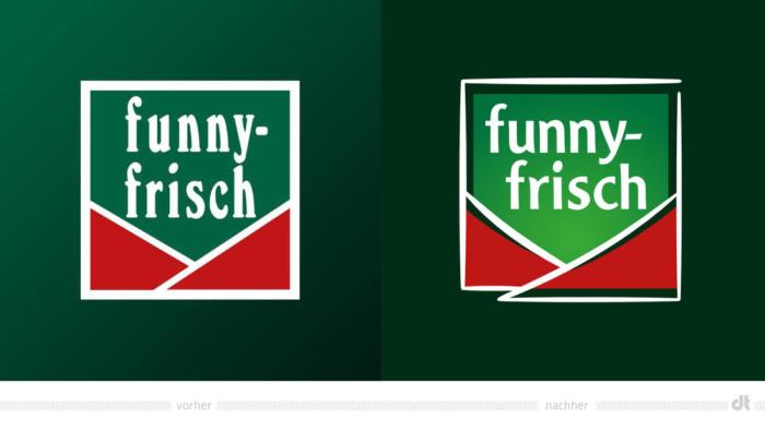 funny-frisch Logo – vorher und nachher, Bildquelle: Intersnack Knabber-Gebäck GmbH & Co. KG, Bildmontage: dt