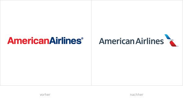 AA American Airlines Logos - vorher und nachher