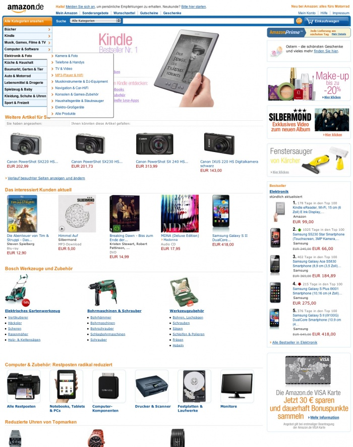 Homepage Amazon.de – bis 10/2012