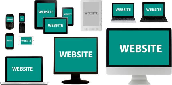 Diverse internetfähige Geräte mit verschiedenen Bildschirmgrößen