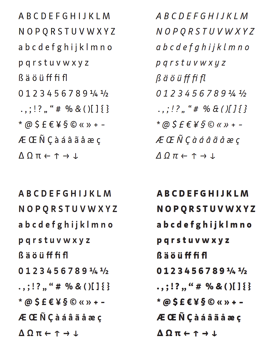 """Die Schnitte der Schrift """"Kassel"""""""