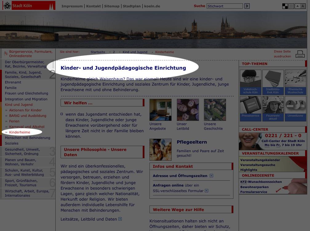 inkonsistente Namensgebung von Navigationspunkt und Seitentitel – Stadtportal Köln