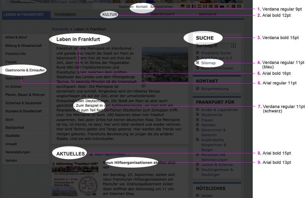 Optimierungspotenzial beim Schriftbild im Stadtportal Frankfurts
