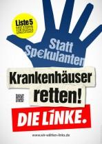 Wahlplakat Die Linke - Krankenhäuser retten!
